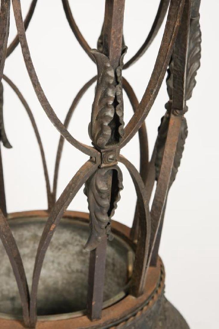 19th C WROUGHT IRON ELEPHANT FOOT UMBRELLA STAND - 3