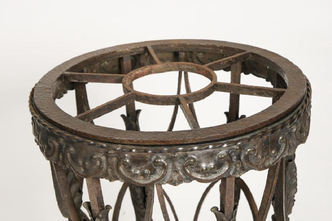 19th C WROUGHT IRON ELEPHANT FOOT UMBRELLA STAND - 4