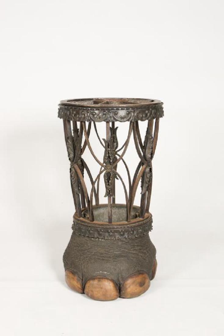 19th C WROUGHT IRON ELEPHANT FOOT UMBRELLA STAND - 7