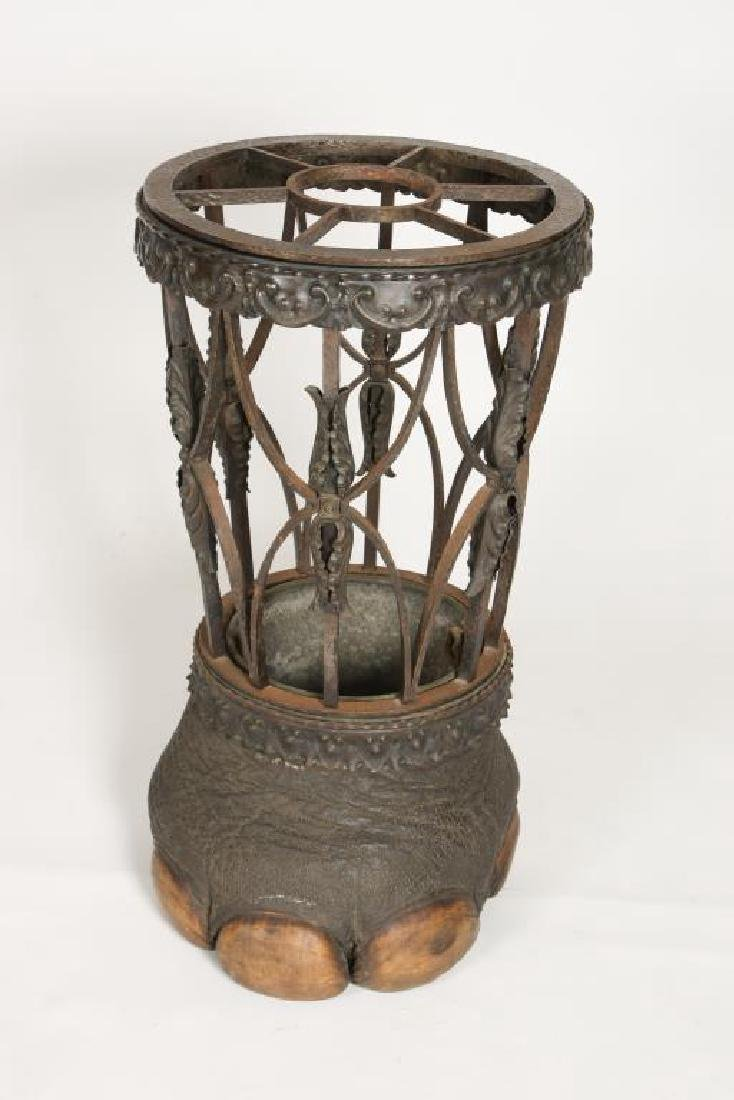 19th C WROUGHT IRON ELEPHANT FOOT UMBRELLA STAND - 8
