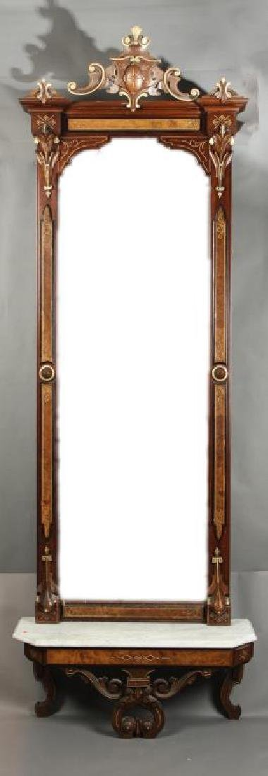 AESTHETIC MOVEMENT PIER MIRROR with MARBLE SHELF