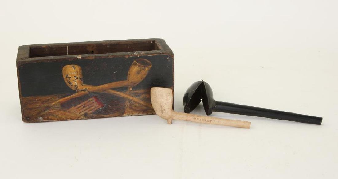 FOLK ART PAINTED PIPE AND MATCH WALL BOX