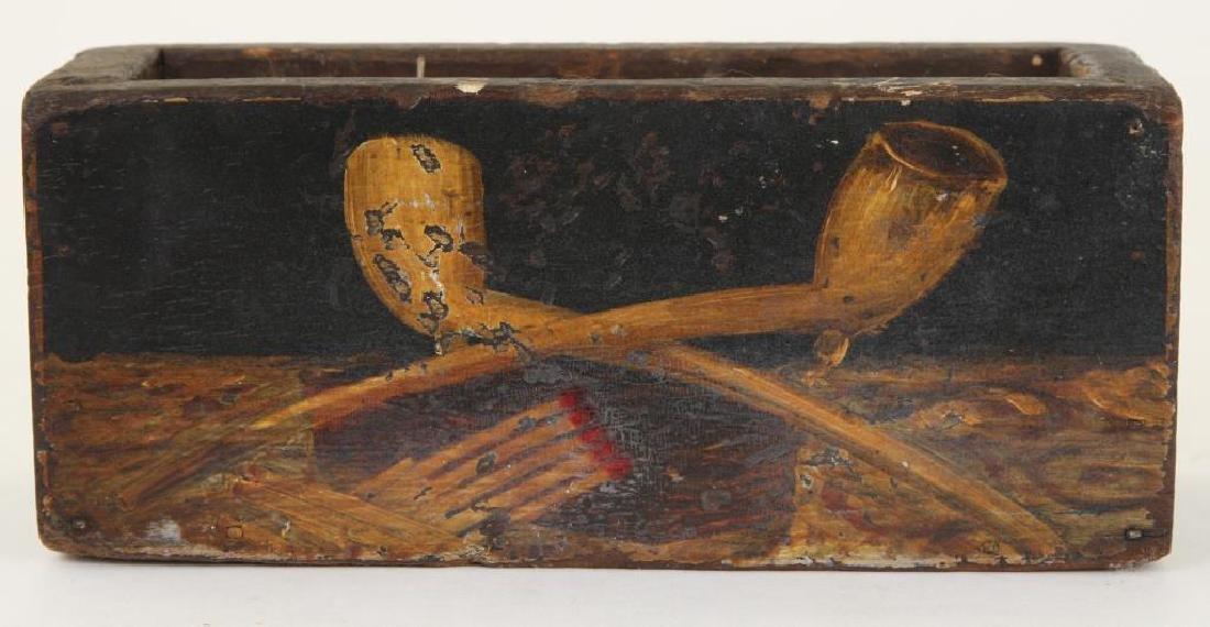 FOLK ART PAINTED PIPE AND MATCH WALL BOX - 7