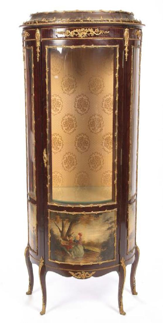 HAND PAINTED FRENCH VITRINE with ORMOLU MOUNTS