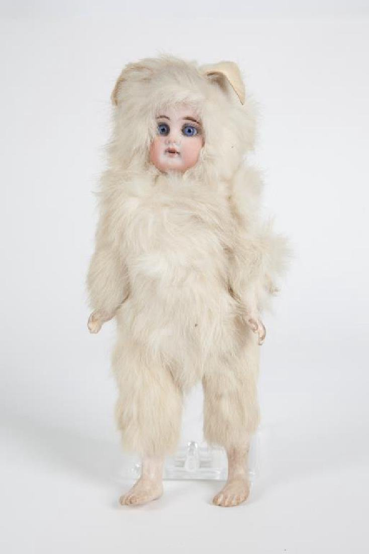 GERMAN BISQUE DOLL IN FUR EASTER BUNNY COSTUME