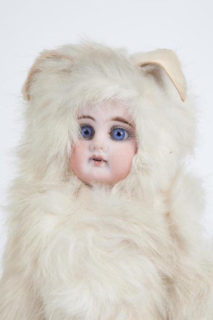 GERMAN BISQUE DOLL IN FUR EASTER BUNNY COSTUME - 2