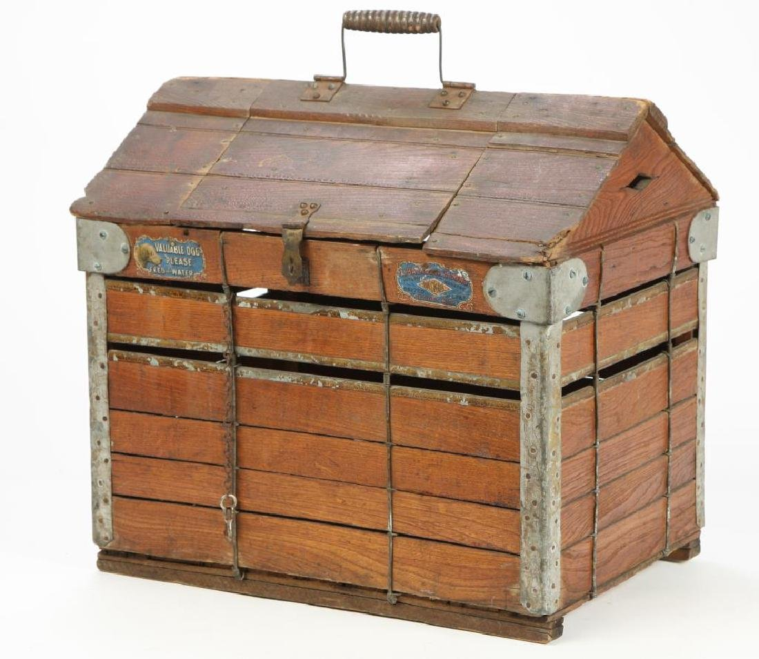 (19th / 20th c) ANTIQUE DOG TRAVEL KENNEL