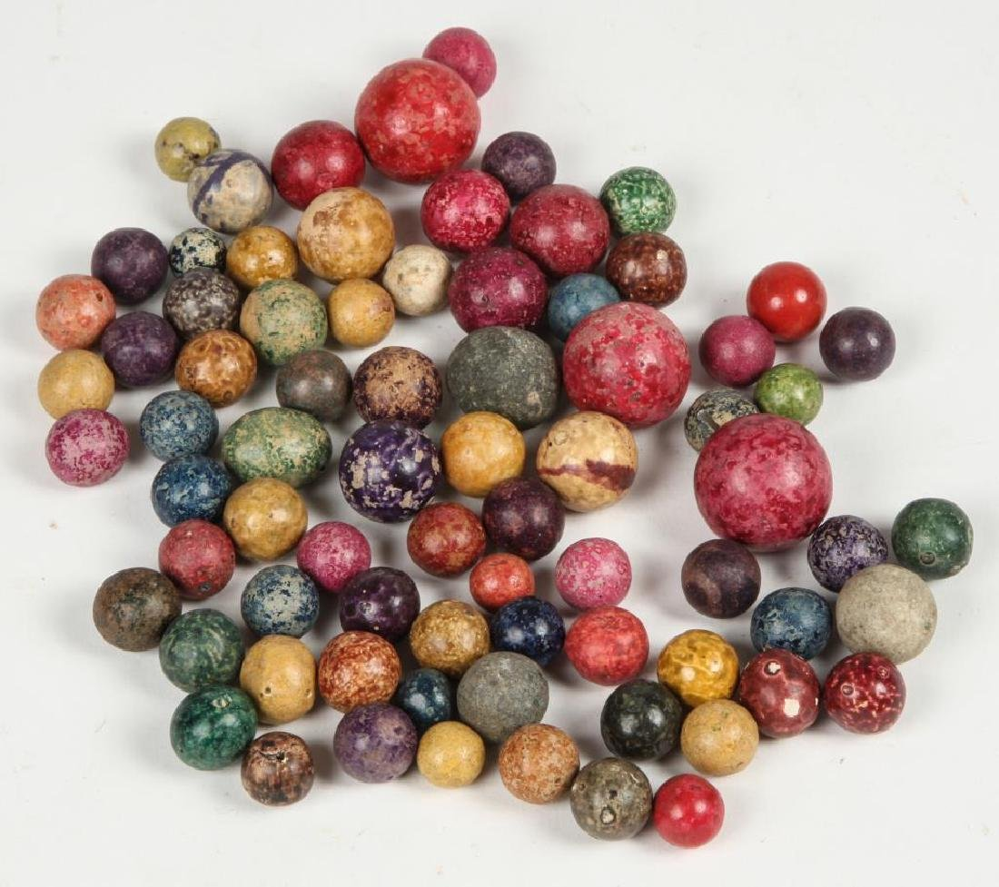 BOX OF ANTIQUE SPECKLED CLAY MARBLES