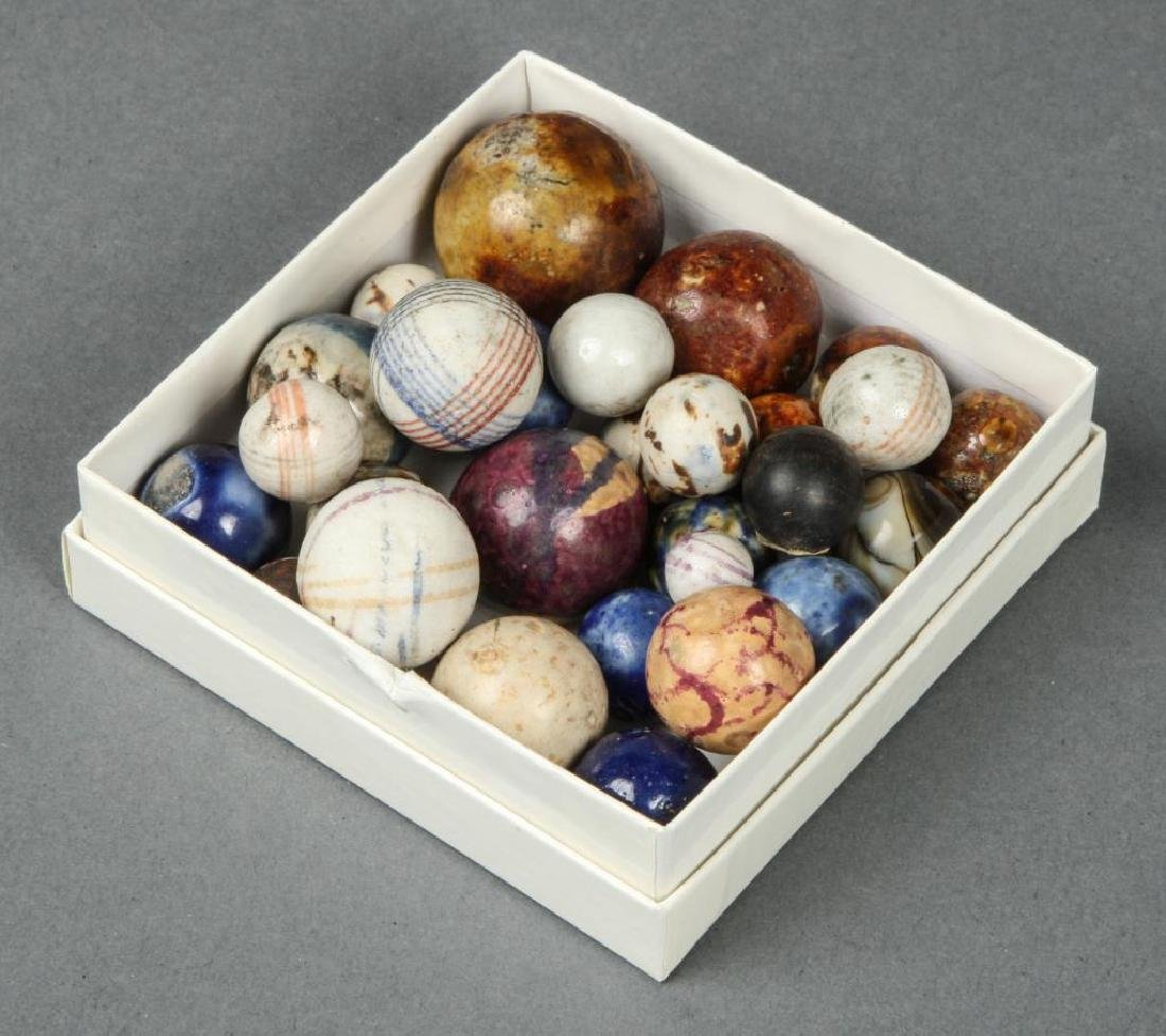 BOX OF ANTIQUE MARBLES