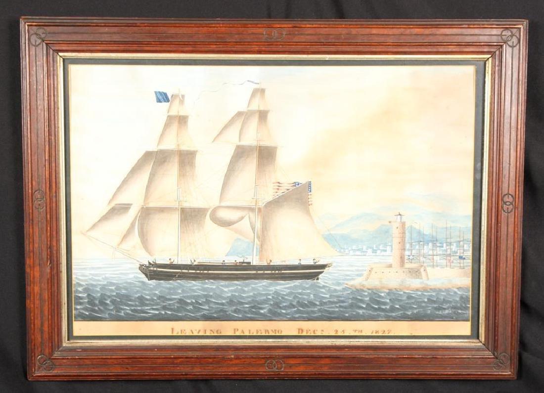 "AMERICAN SHIP ""ASIA"" LEAVING PALERMO"" DEC 25,1827"