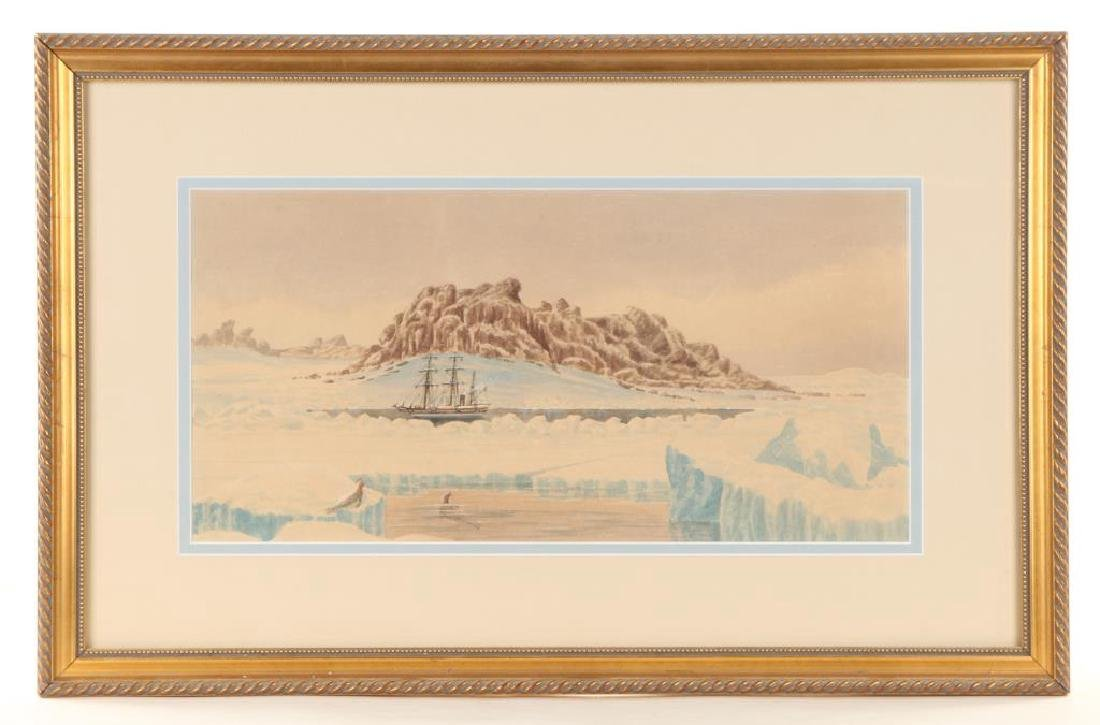 """WATERCOLOR OF THE STEAMER """"JEANNETTE"""" IN ARCTIC"""