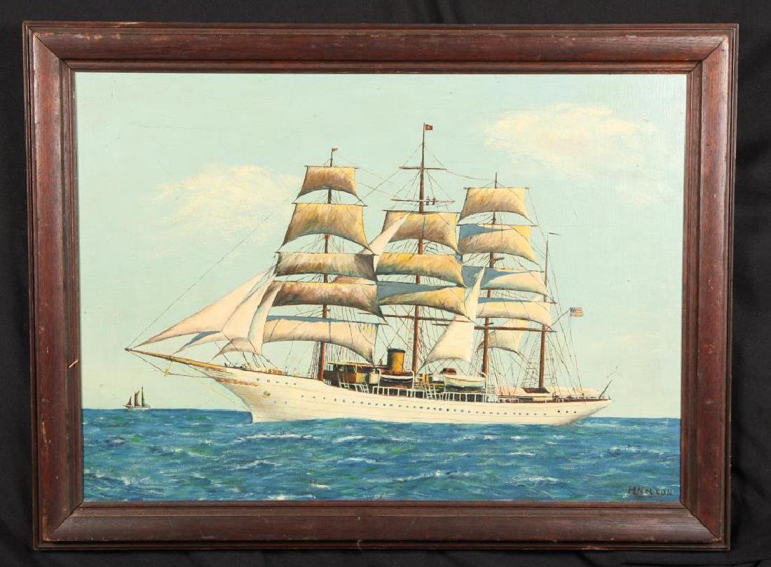 AMERICAN SCHOOL THREE MASTED TALL SHIP PORTRAIT