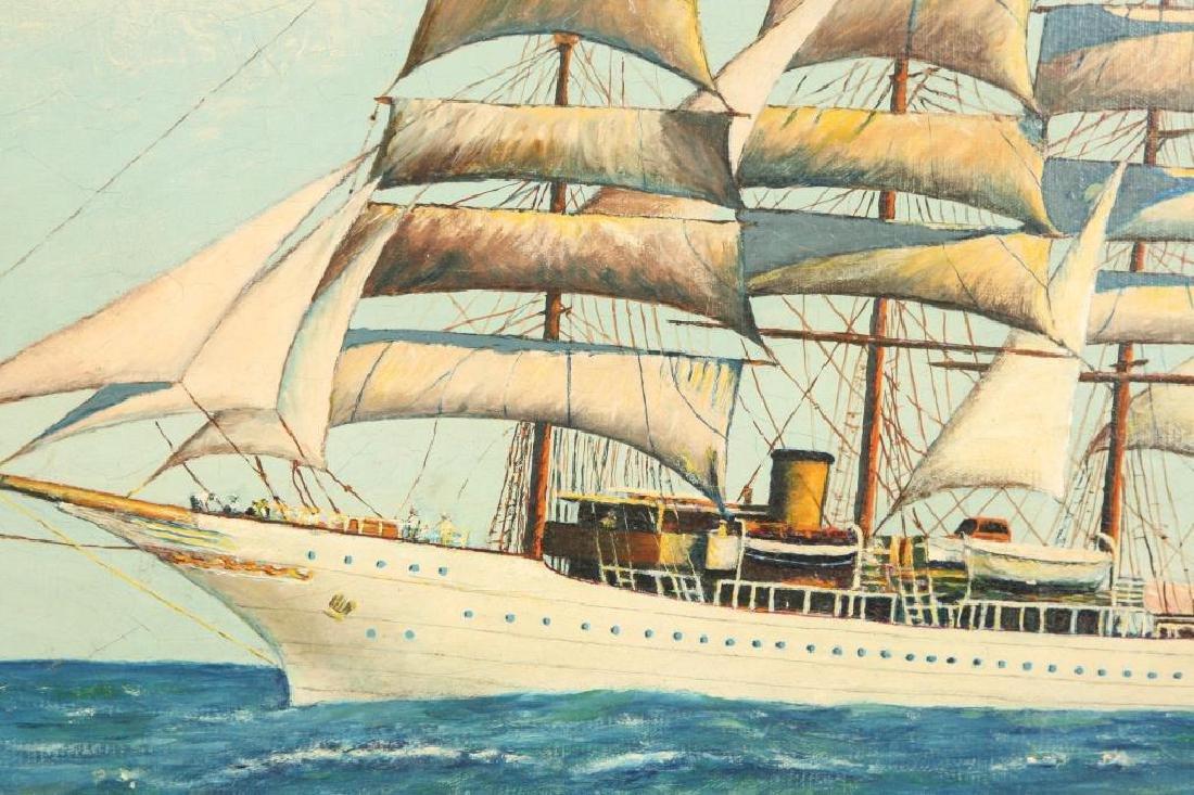 AMERICAN SCHOOL THREE MASTED TALL SHIP PORTRAIT - 2
