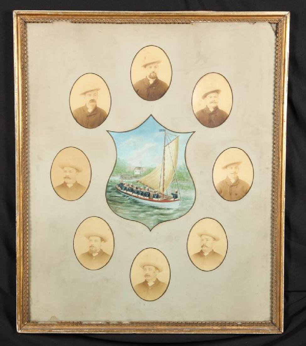 COMPOSITE OF (8) MAN CREW & PAINTING OF MEN/ BOAT