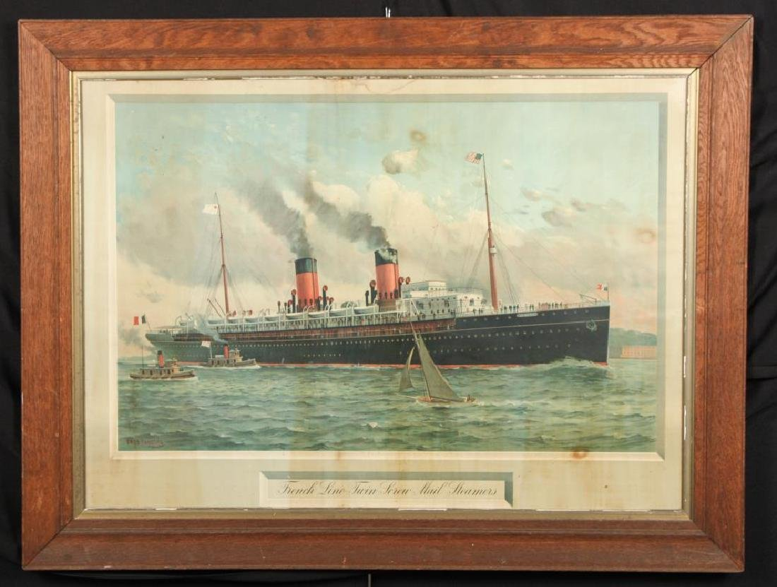 """FRENCH LINE TWIN SCREW MAIL STEAMER"" LITHOGRAPH"