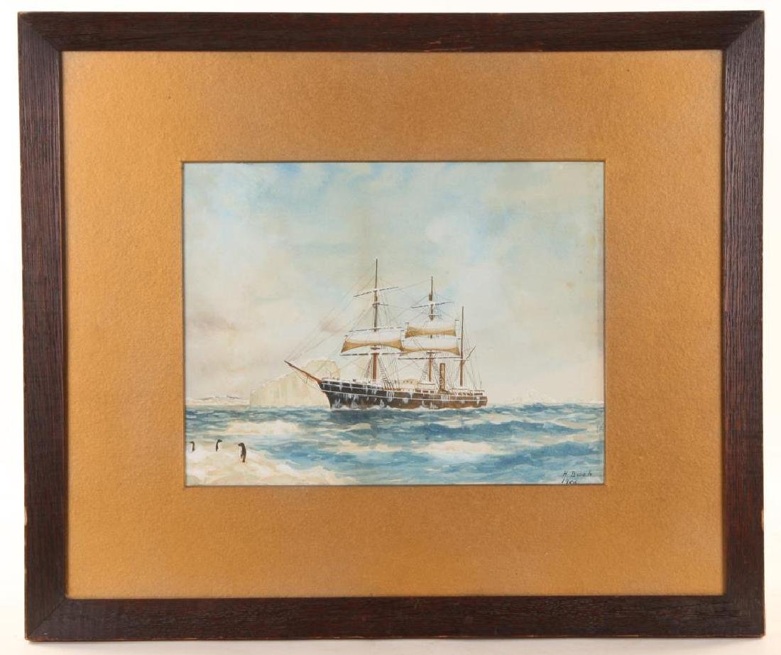 1906 WATERCOLOR OF A SHIP IN THE ANTARCTIC