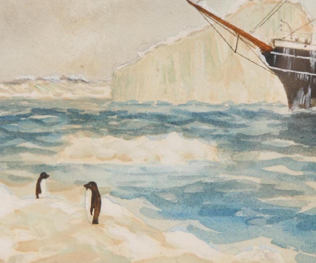 1906 WATERCOLOR OF A SHIP IN THE ANTARCTIC - 2