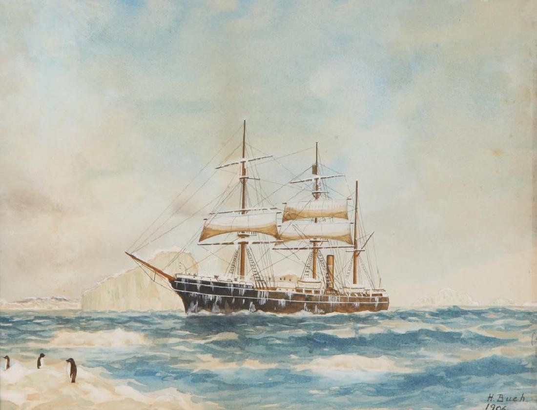 1906 WATERCOLOR OF A SHIP IN THE ANTARCTIC - 3