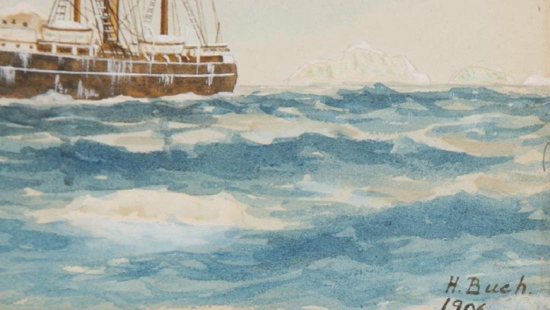 1906 WATERCOLOR OF A SHIP IN THE ANTARCTIC - 4