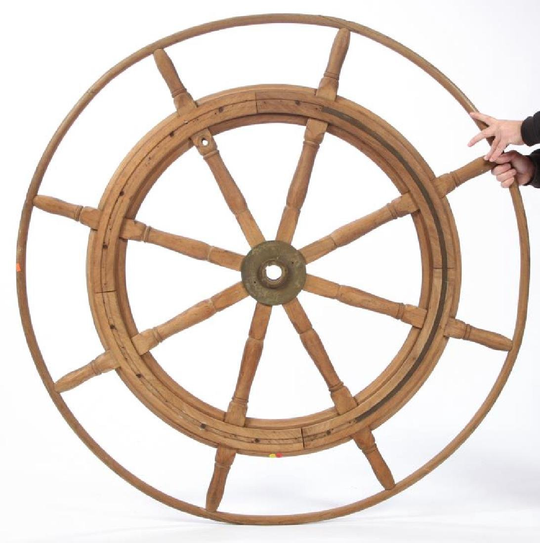 (LATE 19th c) SHIPS WHEEL with OUTER WOODEN RIM