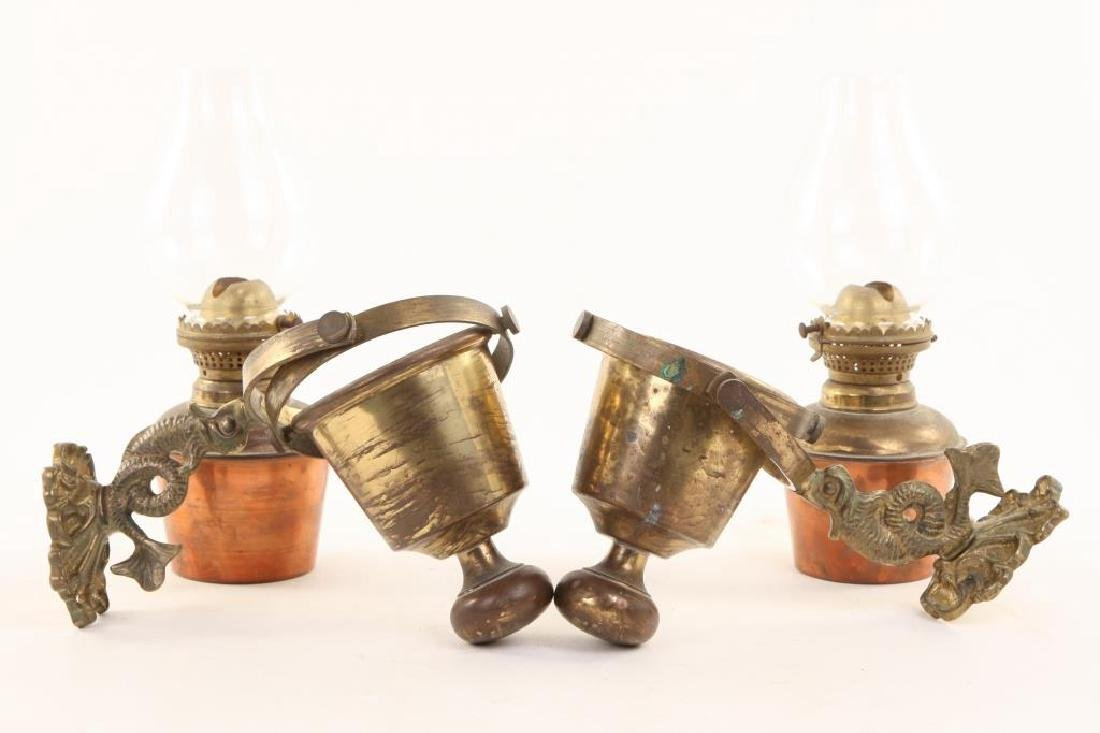 PAIR OF GIMBALED BRASS WALL SCONCES