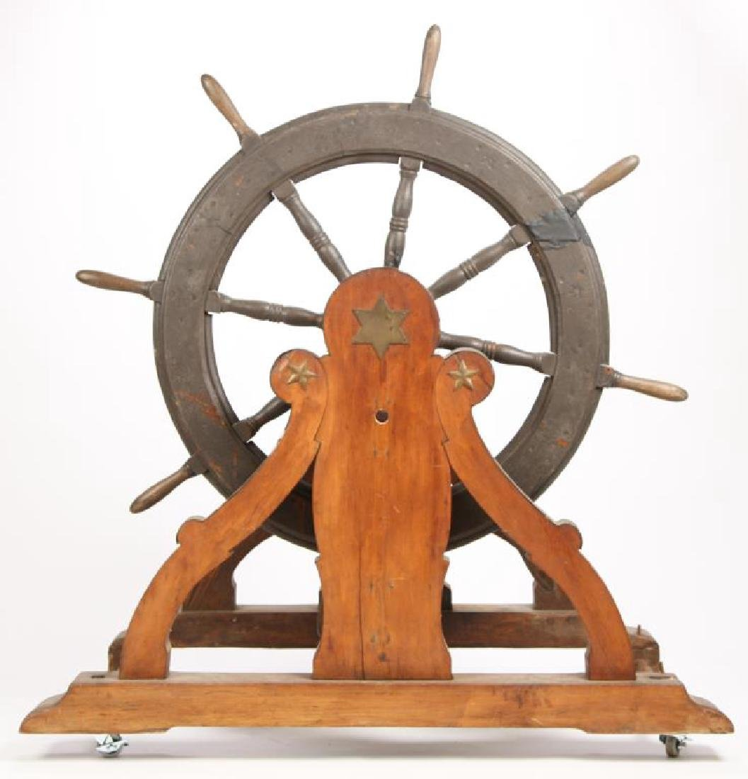 SHIP'S WHEEL on SCROLLED STAND