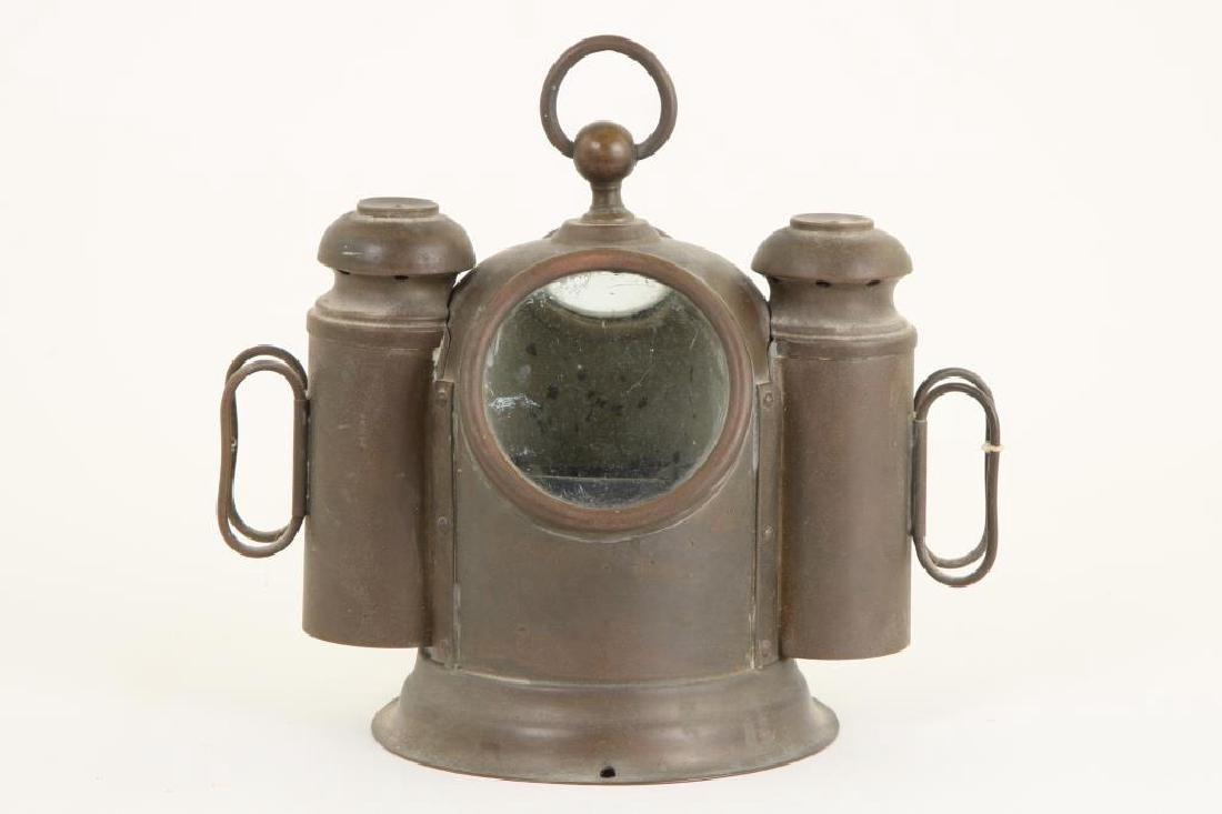 SMALL SOLID BRASS BINNACLE with (2) SIDE LIGHTS