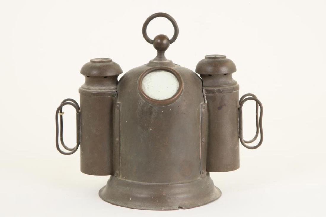 SMALL SOLID BRASS BINNACLE with (2) SIDE LIGHTS - 3