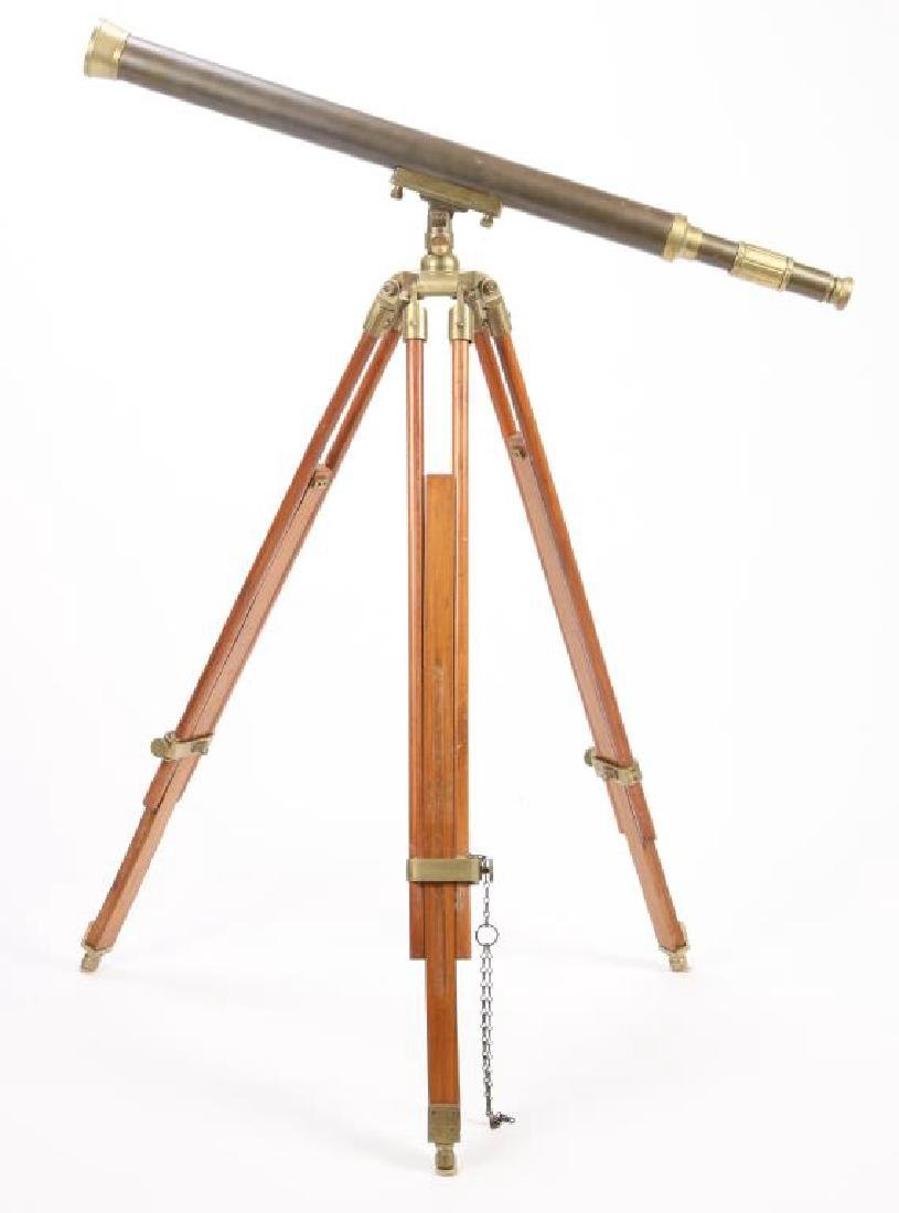 (20th c) BRASS TELESCOPE on STAND