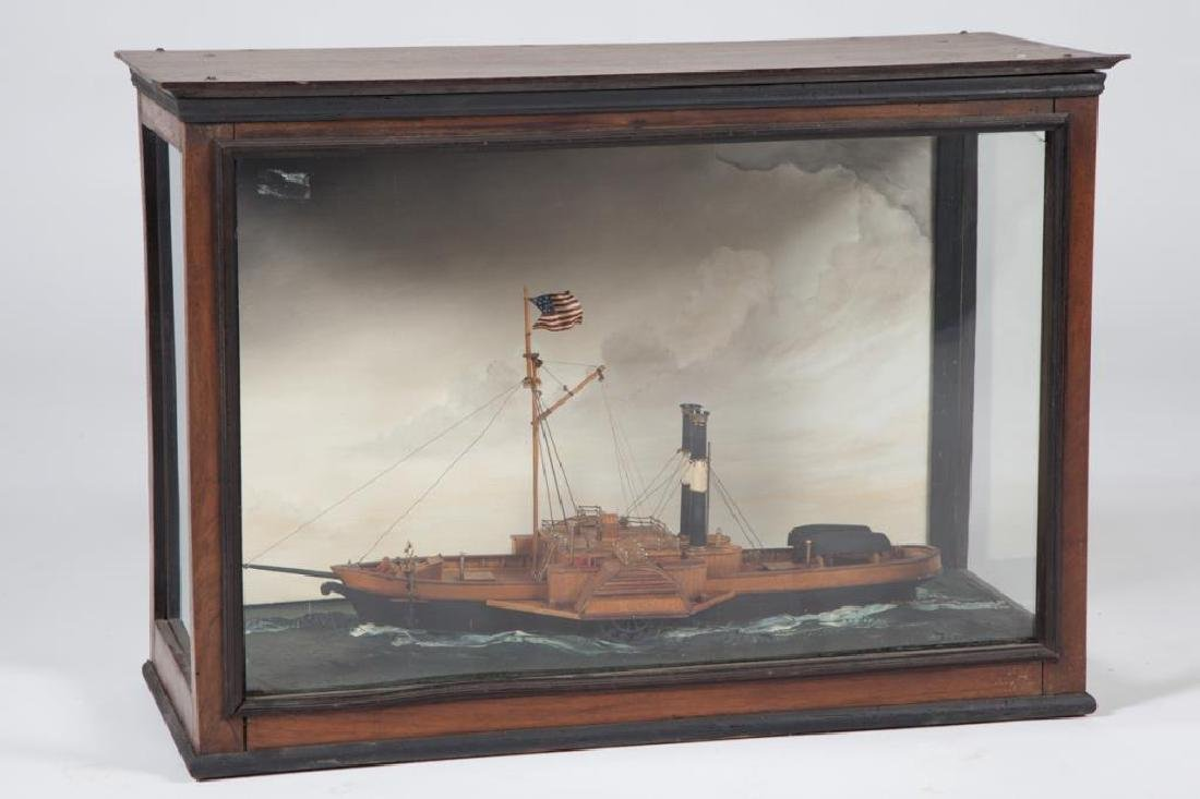 CASED SHIP MODEL / DIORAMA of a SIDEWHEELER