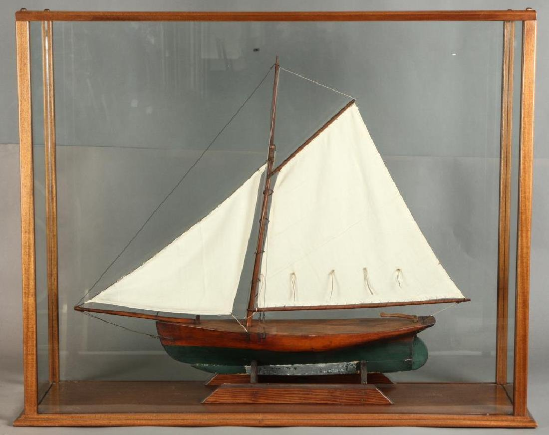 GAFF RIG SINGLE MASTED CASED SHIP MODEL