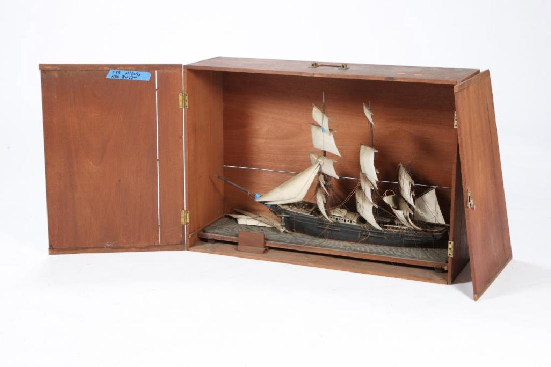 CARVED & PAINTED WOODEN TALL SHIP in CASE
