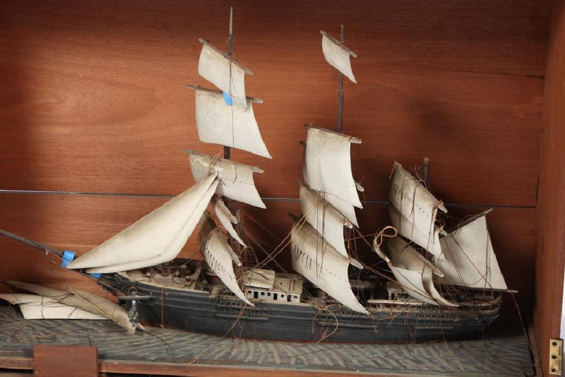 CARVED & PAINTED WOODEN TALL SHIP in CASE - 4
