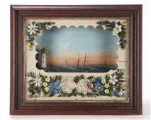 VICTORIAN SHADOW BOX DIORAMA of SHIP & LIGHTHOUSE