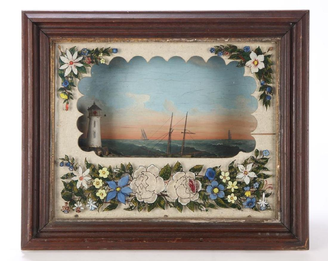 VICTORIAN SHADOW BOX DIORAMA of SHIP & LIGHTHOUSE