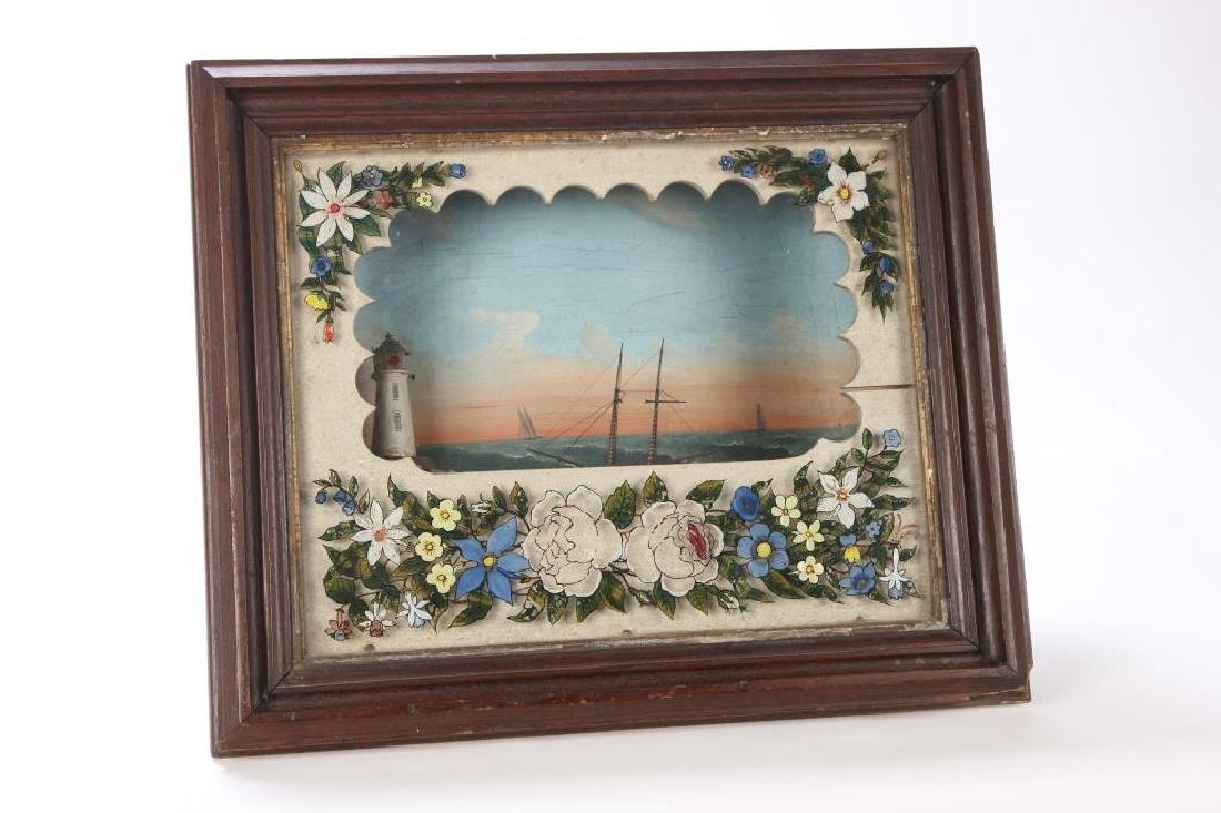 VICTORIAN SHADOW BOX DIORAMA of SHIP & LIGHTHOUSE - 3