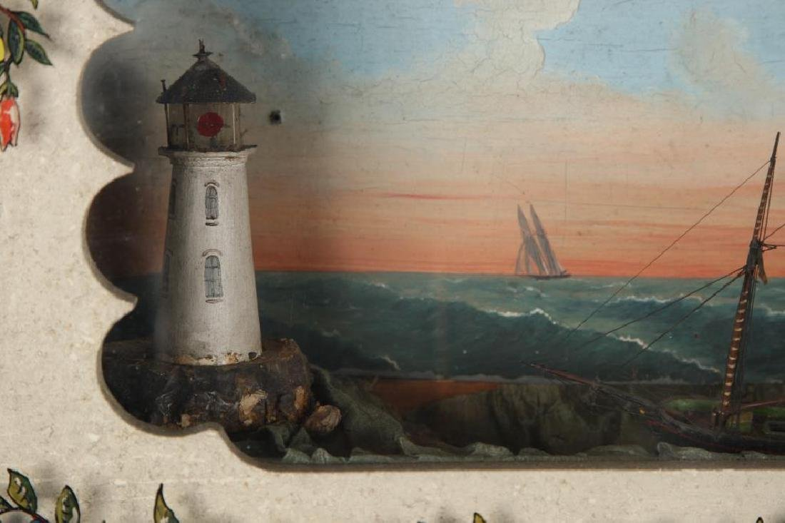 VICTORIAN SHADOW BOX DIORAMA of SHIP & LIGHTHOUSE - 8
