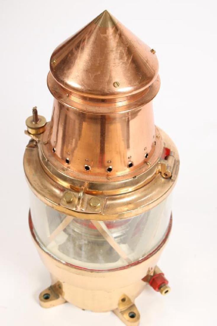 LARGE SOLID BRASS & COPPER CHANNEL MARKER LAMP - 5