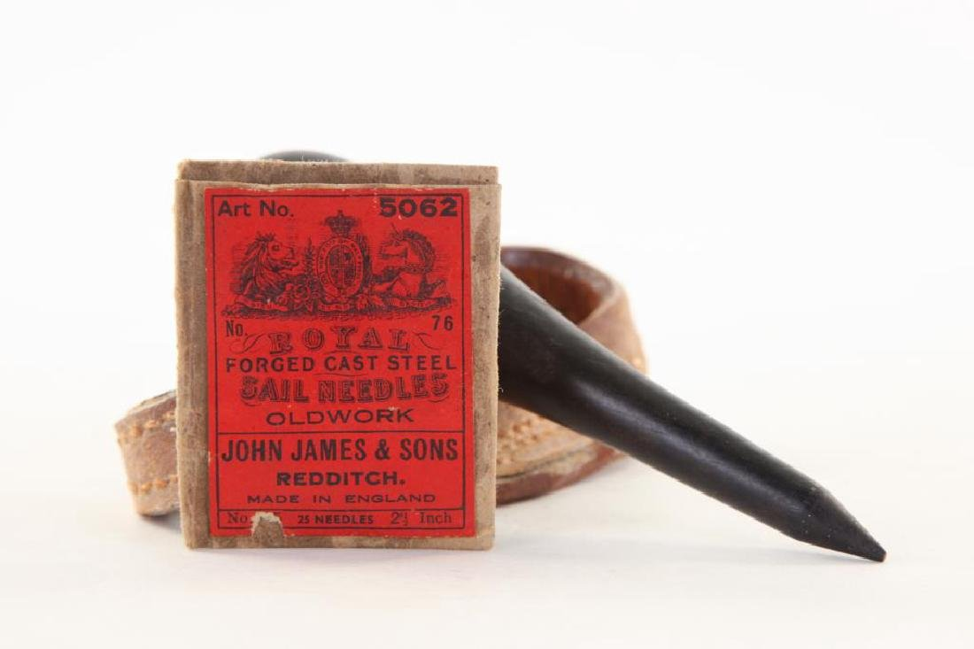 SAILMAKER'S LEATHER SEWING PALM, FID AND NEEDLES - 3