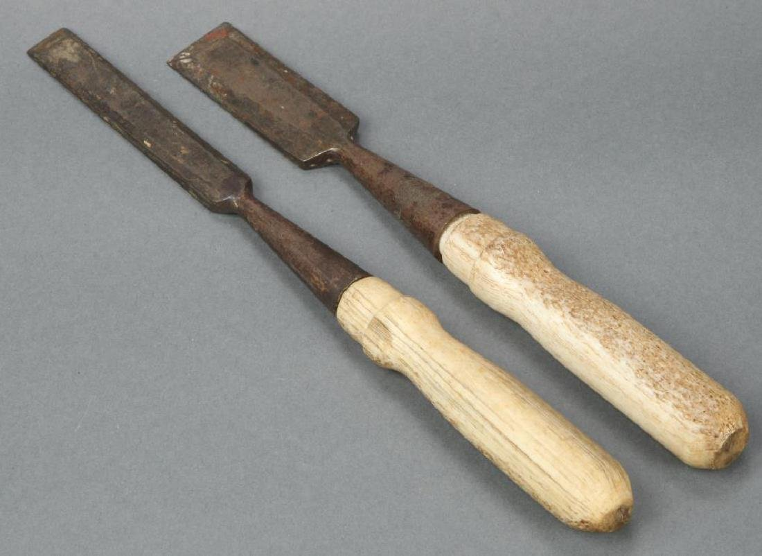 (2) STEEL CHISELS with WHALEBONE HANDLES