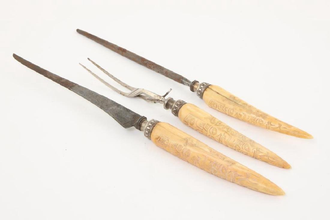 CARVED WALRUS TUSK (3) PIECE CULINARY SET c. 1900