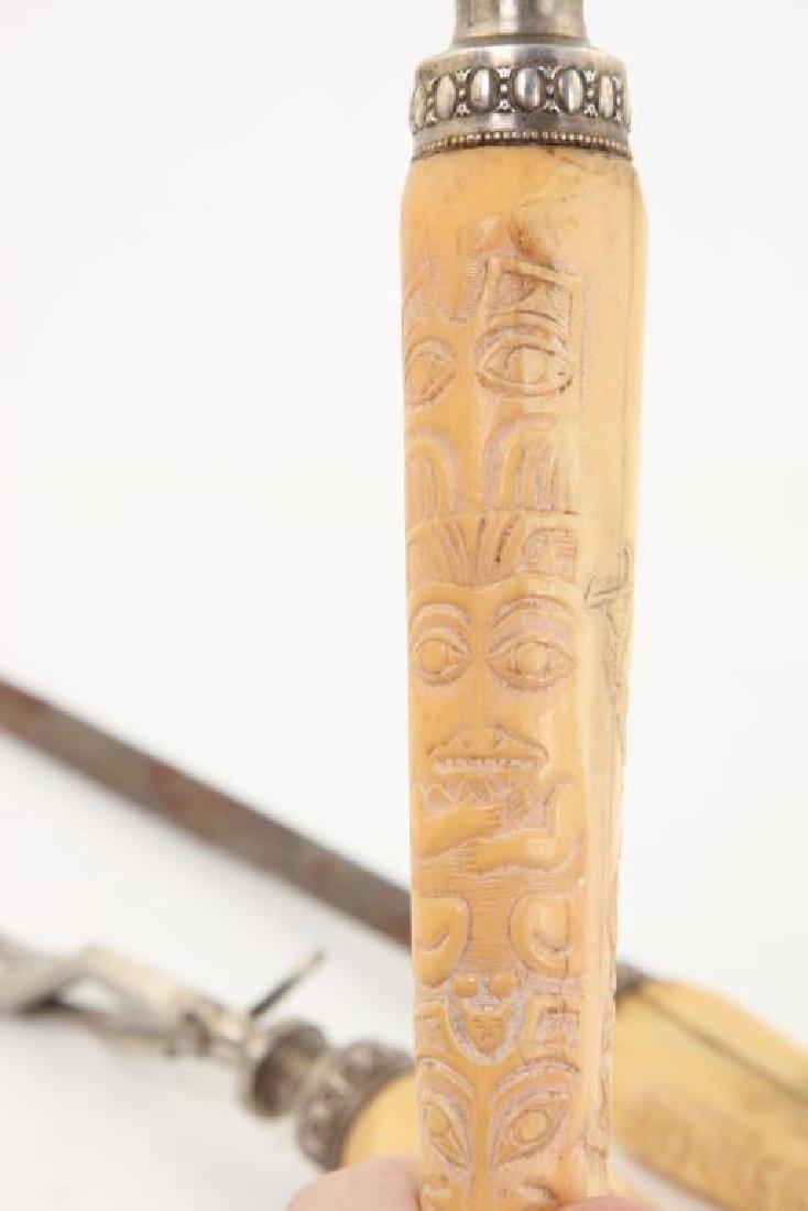 CARVED WALRUS TUSK (3) PIECE CULINARY SET c. 1900 - 5