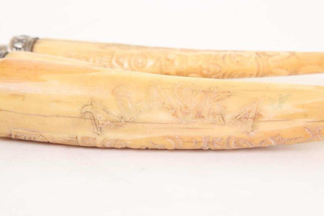 CARVED WALRUS TUSK (3) PIECE CULINARY SET c. 1900 - 6