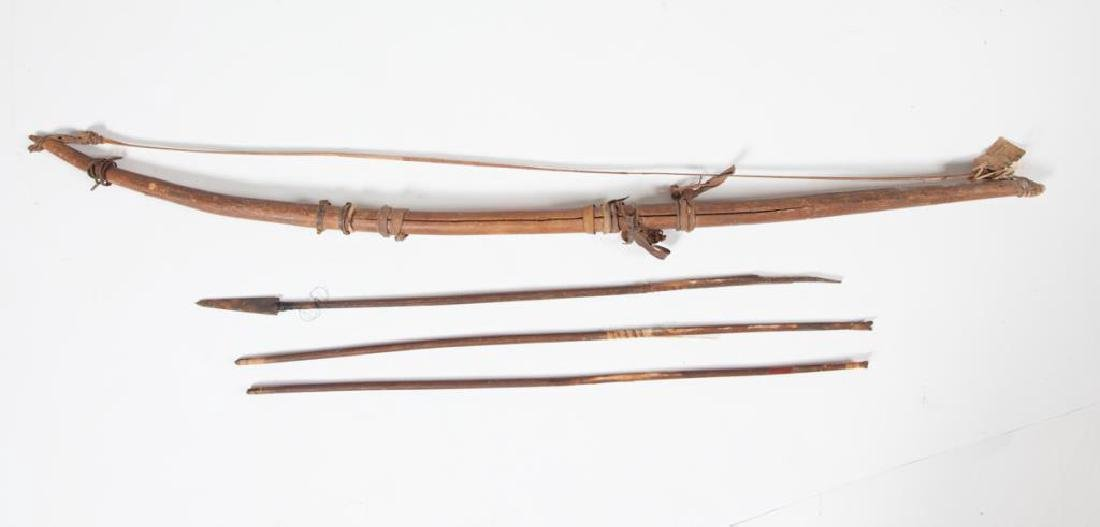 EARLY ETHNOGRAPHIC BOW and (3) POISON ARROWS