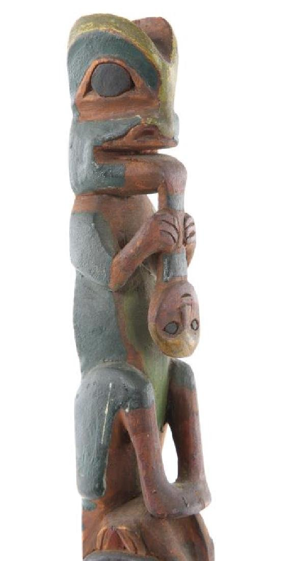 EARLY CARVED AND PAINTED ALASKAN INUIT TOTEM POLE