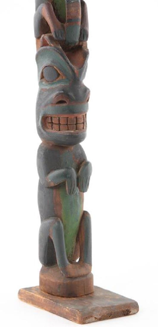 EARLY CARVED AND PAINTED ALASKAN INUIT TOTEM POLE - 7