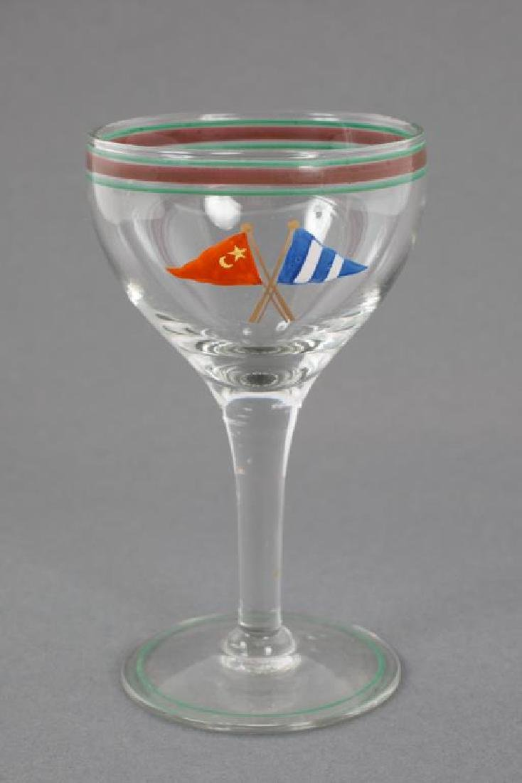 YACHTING CORDIAL GLASS ENAMELED WITH CLUB BURGEE