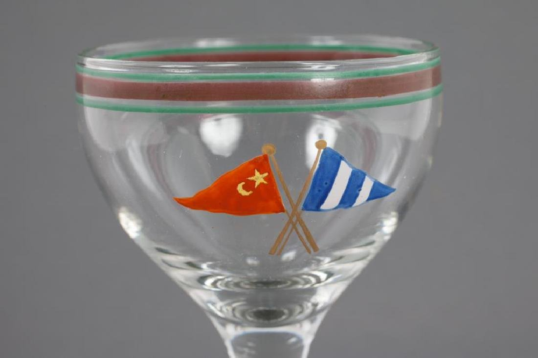 YACHTING CORDIAL GLASS ENAMELED WITH CLUB BURGEE - 2