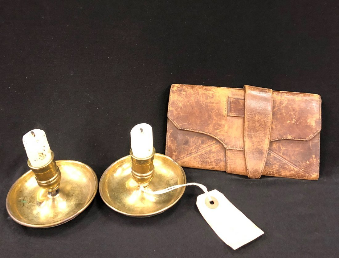 CIVIL WAR ERA  BRASS POCKET CANDLESTICKS