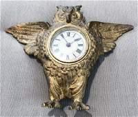 REGENT CAST IRON OWL SHELF CLOCK PAT 1885